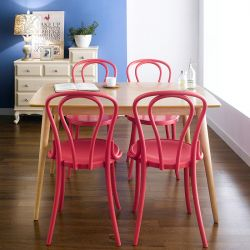 Gina-Red-4  Dining Set (1 Table + 4 Chairs)
