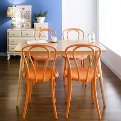 Gina-Orange-4  Dining Set (1 Table + 4 Chairs)