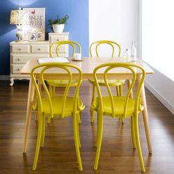 Gina-Mustard-4  Dining Set (1 Table + 4 Chairs)