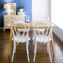 Gina-White-4  Dining Set (1 Table + 4 Chairs)