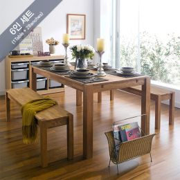 Turbo-6-2B  Dining Set (6인용) (1 Table + 2 Bench)