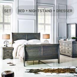2550-Q  Queen Panel Bed Set  (All 포함가)    (침대+협탁+화장대+거울)