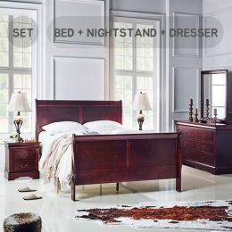 1952-Q  Queen Panel Bed Set  (All 포함가)   (침대+협탁+화장대+거울)