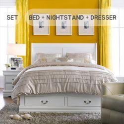 Lorenzo  Queen Bed w/ Storage  (침대+협탁+화장대+거울)