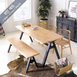 Florence-6-Natural  Dining Set (1 Table + 3 Chairs + 1 Bench)