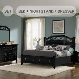 B2000  King Panel Bed w/ Storage  (침대+협탁+화장대+거울)