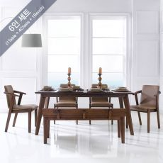 Burgo-6  Dining Set (1 Table + 4 Chairs + 1 Bench)