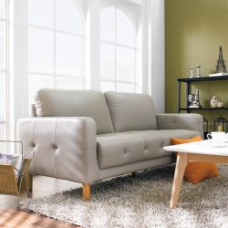 M8005-Gray-PU  3-Seater Sofa