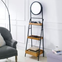 FI0170 Black Iron Folding Mirror Rack