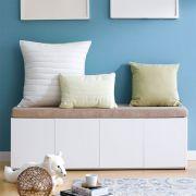 Mof-White-BEG  Storage Bench w/  Cushion