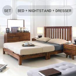 Coco-Q Bed Set Queen Bed  (Acacia 원목)   (침대+협탁+화장대)