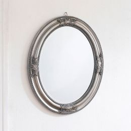 Livia-Silver Oval Wall Mirror