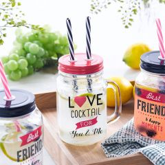 Mason Jar-Love  Cocktail Jar  (Straw 포함)