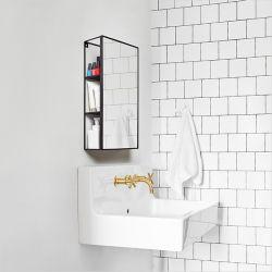 1009654-040 Cubiko-Black Wall Mirror & Storage