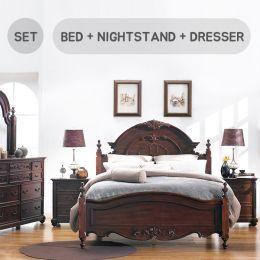 Angela-Brown  Queen Panel Bed  (침대+협탁+화장대+거울)