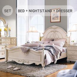 Angela-Ivory  King Panel Bed  (침대+협탁+화장대+거울)