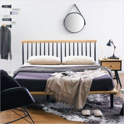 Browny-Nat/Black-QB  Queen Bed  (Oak 원목)
