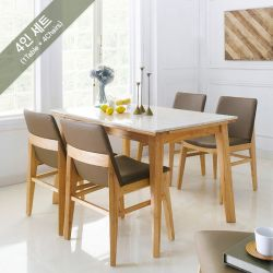 Zodax-4C-Natural-Marble  Dining Set  (1 Table + 4 Chairs)
