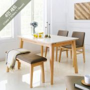 Zodax-4-Natural-Marble  Dining Set  (1 Table + 2 Chairs + 1 Bench)