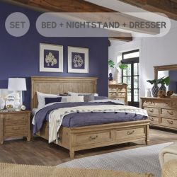 B4124  Queen Panel Bed  w/ Drawer  (침대+협탁+화장대)