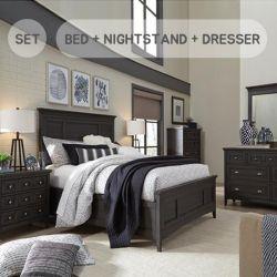 B4399  Queen Panel Bed w/ Storage  (침대+협탁+화장대+거울)