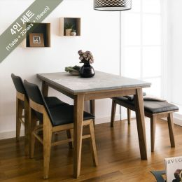 Zodax-4-Walnut-Grey Marble  Dining Set  (1 Table + 2 Chairs + 1 Bench)