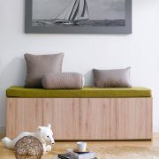 Mof-Natural-GRN  Storage Bench w/  Cushion