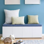 Mof-White-BLU  Storage Bench w/  Cushion