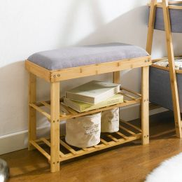 SJ217105  Bamboo Stool w/ Shoe Rack