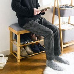 (0) SJ217105  Bamboo Stool w/ Shoe Rack