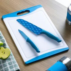 13290-White/Blue  Board & Knife Set