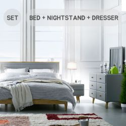 Rora-QB-Grey Set  Queen Panel Bed Set  (침대+협탁+화장대+거울)