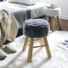 Fur-3753-Grey  Wooden Stool