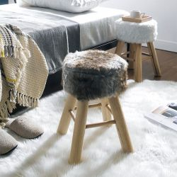 Fur-3753-Brown  Wooden Stool