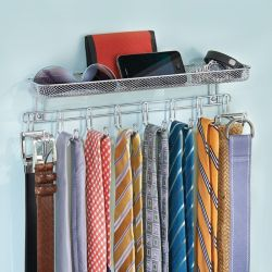 43930EJ  Classico Wall Mount Tie and Belt Rack with Shelf