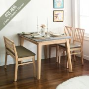 Miso-4-Natural-Grey Marble  Dining Set  (1 Table + 2 Chairs + 1 Bench)