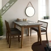 Miso-4-Walnut-Grey Marble  Dining Set  (1 Table + 2 Chairs + 1 Bench)
