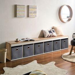 G6-Vintage-Grey  Storage Bench w/ Boxes