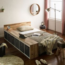 Ria-Grey  Storage Panel Bed w/ Boxes