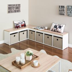 SCB-24-Oak-Beige  Storage Bench w/ Boxes