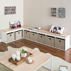 SCB-25-Oak-Beige  Storage Bench w/ Boxes