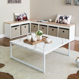 T-790-Ivory-White Marble  Coffee Table