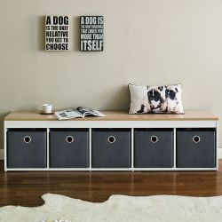G5-Oak-Grey  Storage Bench w/ Boxes
