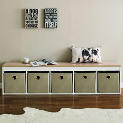 G5-Oak-Beige  Storage Bench w/ Boxes