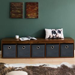 G5-Acacia-Grey  Storage Bench w/ Boxes