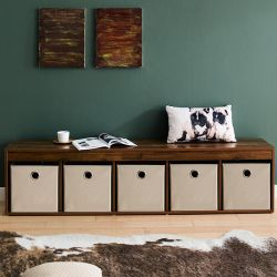 G5-Acacia-Beige  Storage Bench w/ Boxes