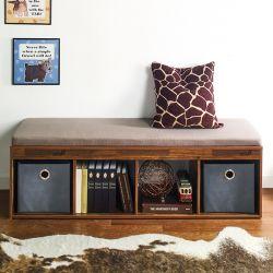 J4-Acacia-KK  Storage Bench w/  Cushion