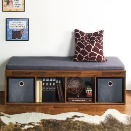 J4-Acacia-DG  Storage Bench w/ Cushion