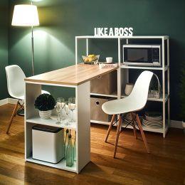 Rancho-Oak-W Dining Table w/ Storage