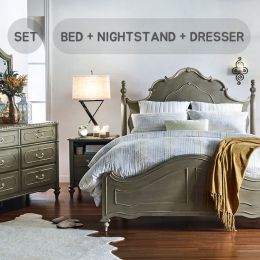 Madison-QN-Set  Queen Panel Bed  (침대+협탁+화장대+거울)